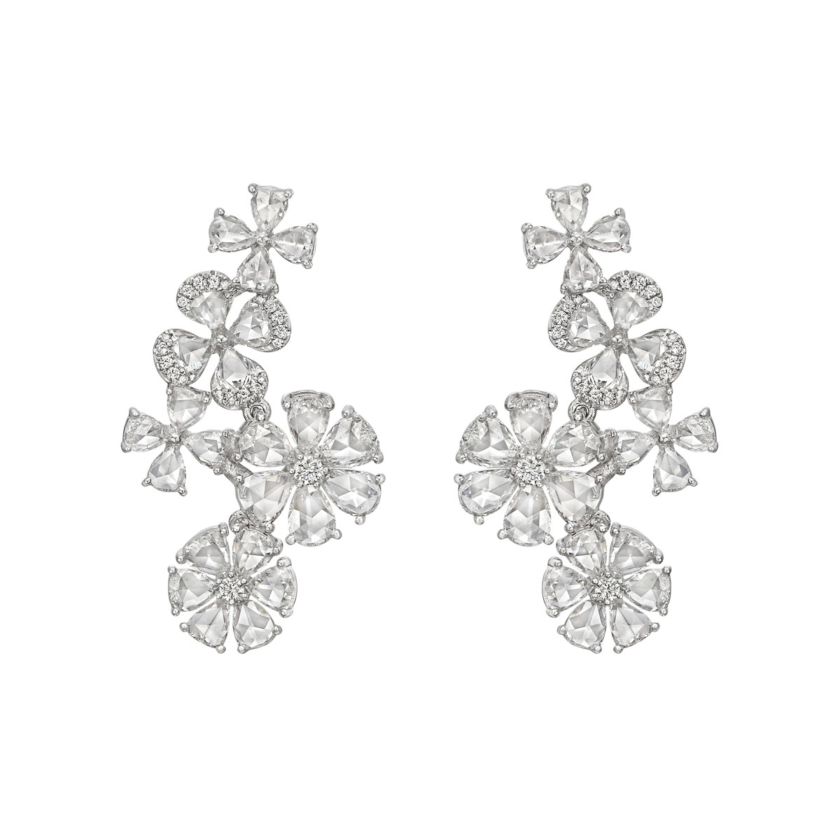 Rose-Cut Diamond Flower Drop Earrings