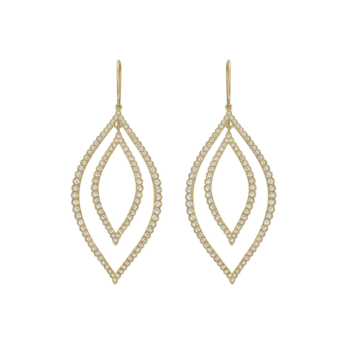 Rose-Cut Diamond Marquise-Shaped Drop Earrings