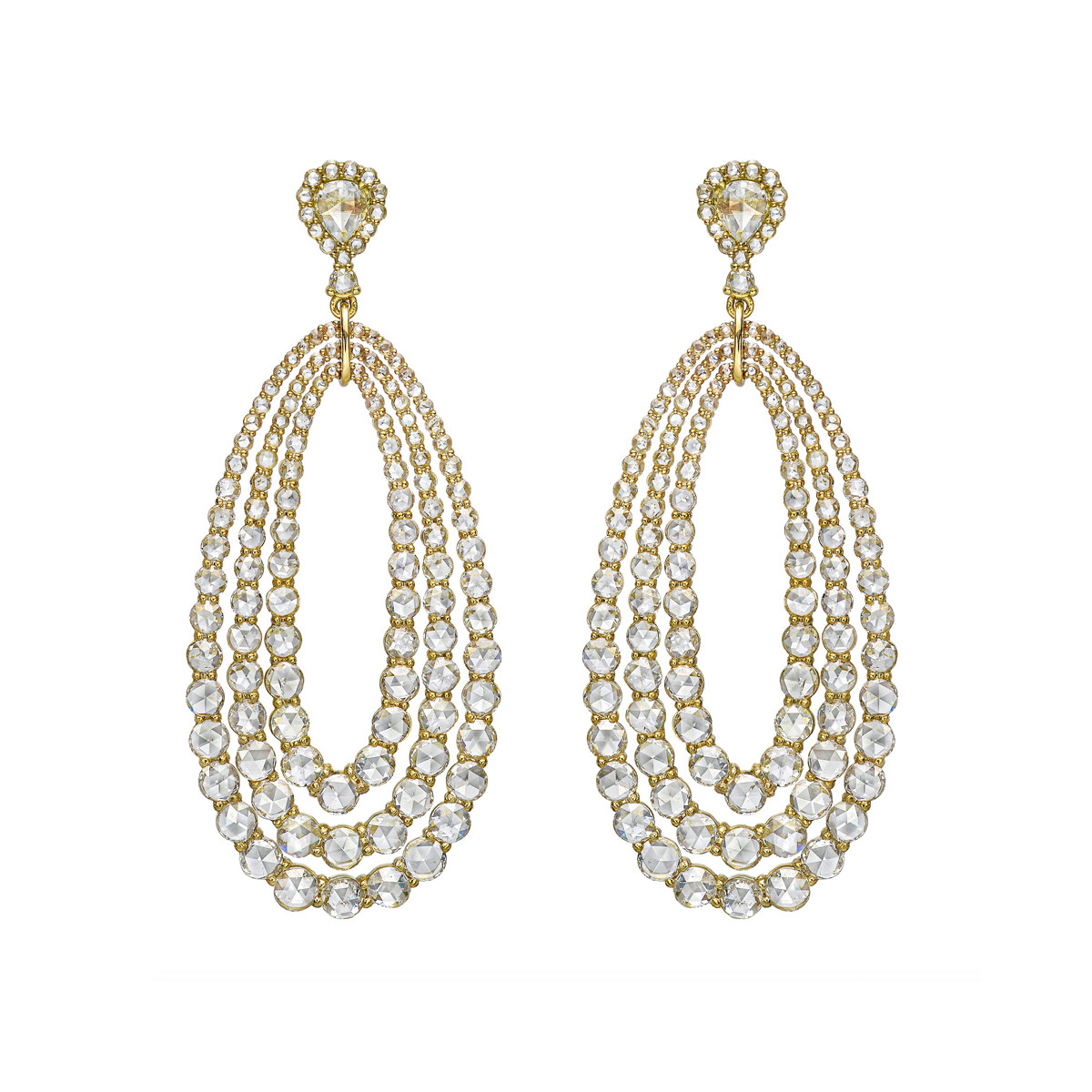 Rose-Cut Diamond Triple Pear Drop Earrings