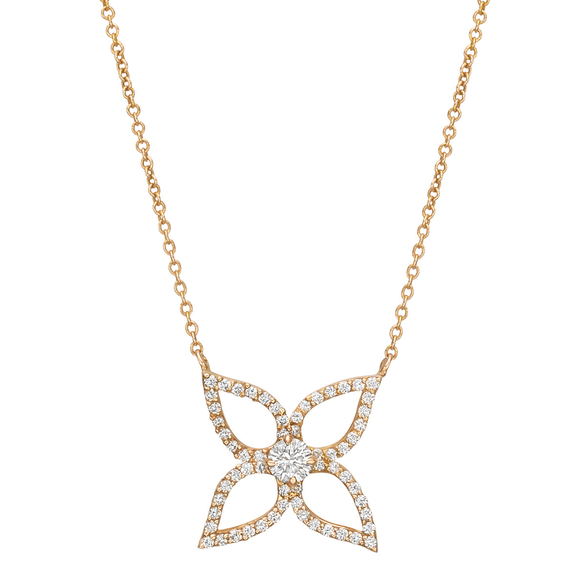 18k Rose Gold & Diamond Flower Pendant
