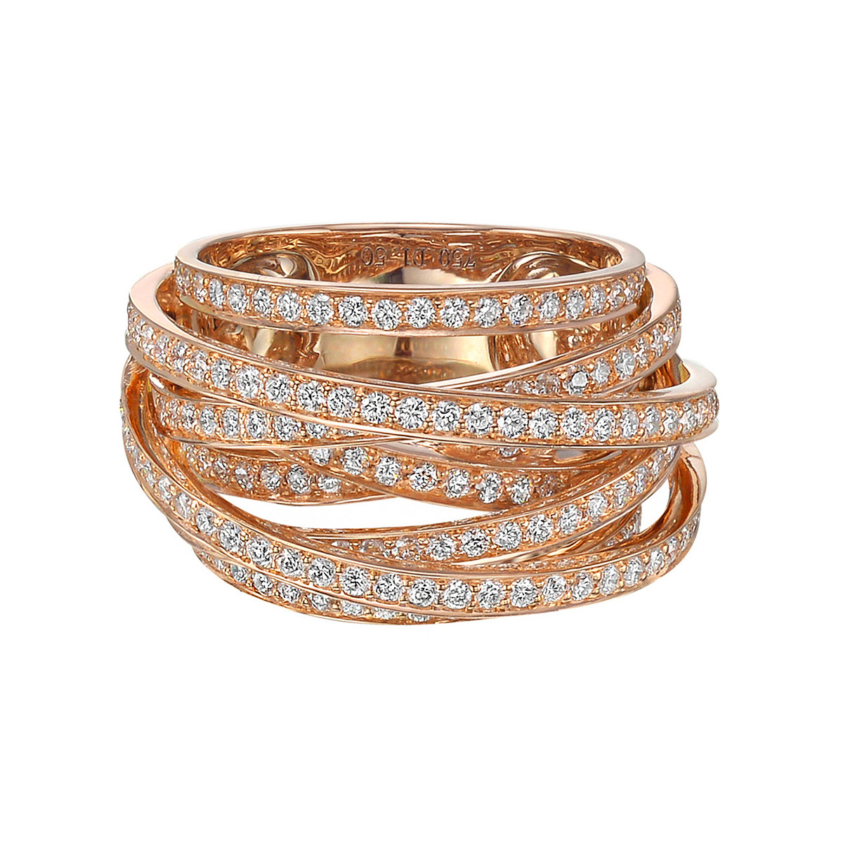 18k Rose Gold & Diamond Multi-Row Ring