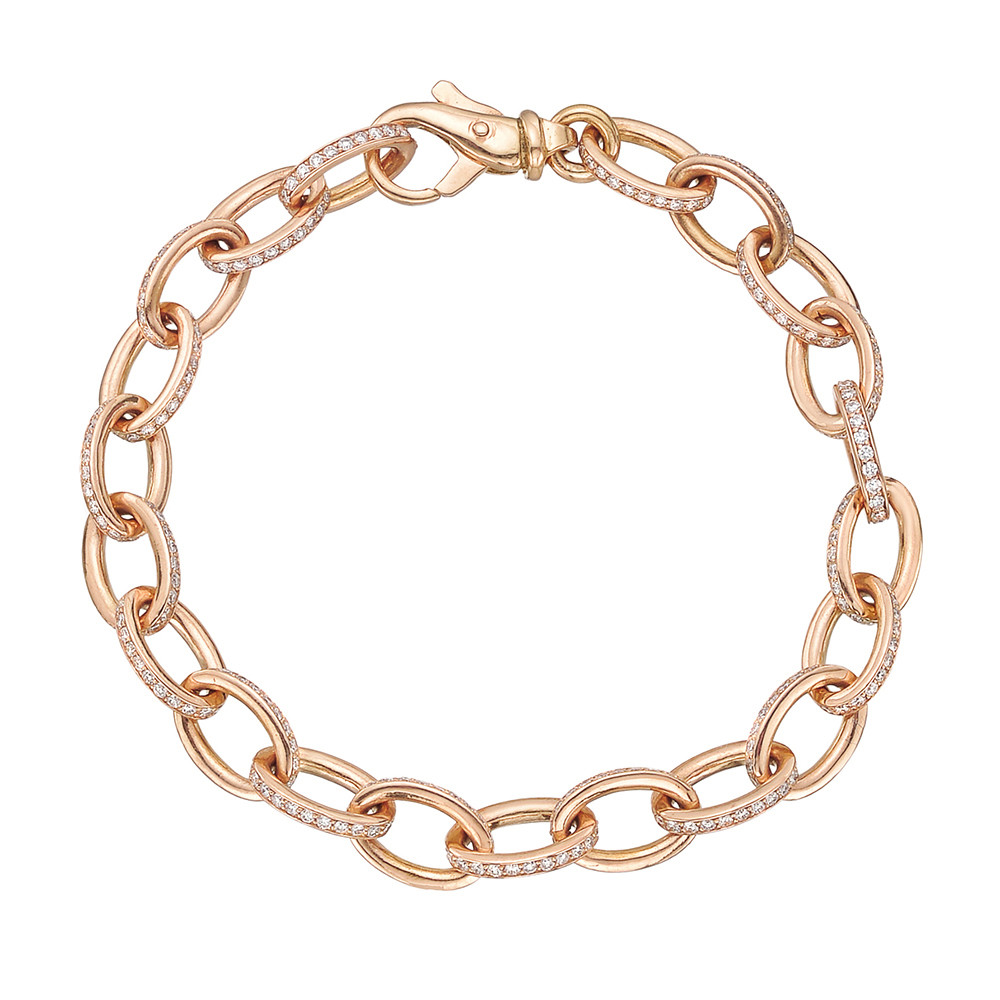 18k Rose Gold & Diamond Oval Link Bracelet