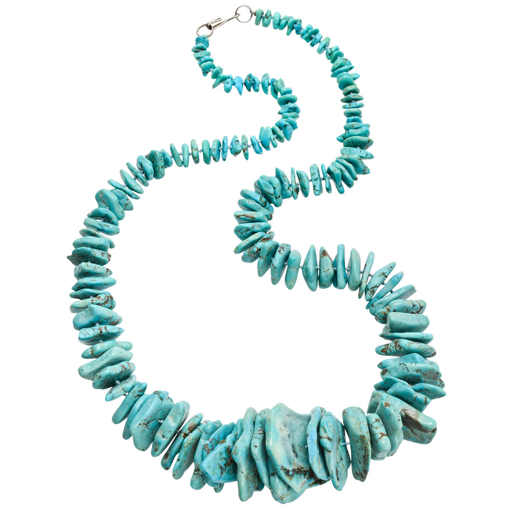 Rough Turquoise Bead Long Necklace