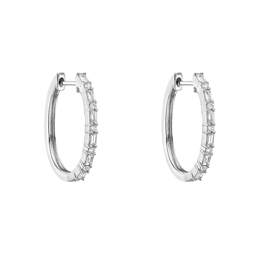 Small Diamond Hoop Earrings (~0.5 ct tw)