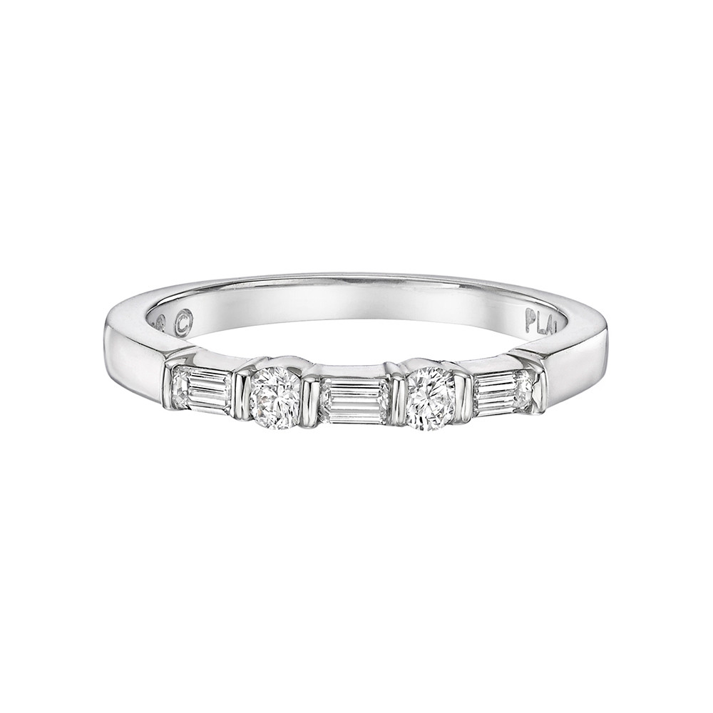 Round & Baguette Diamond Five Stone Band (0.31 ct tw)