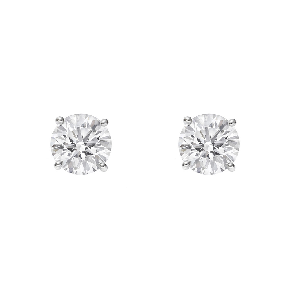 Round Brilliant Cut Diamond Stud Earrings In Platinum Two Colorless Diamonds Weighing Roximately 1 50 Total Carats H I Color I1 Clarity Secured