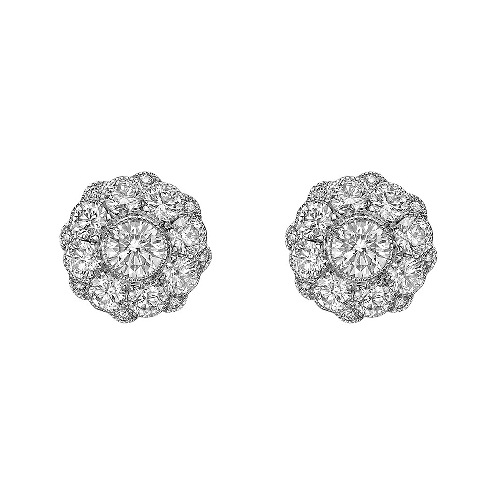 "18k White Gold & Diamond ""Aster"" Halo Earstuds"