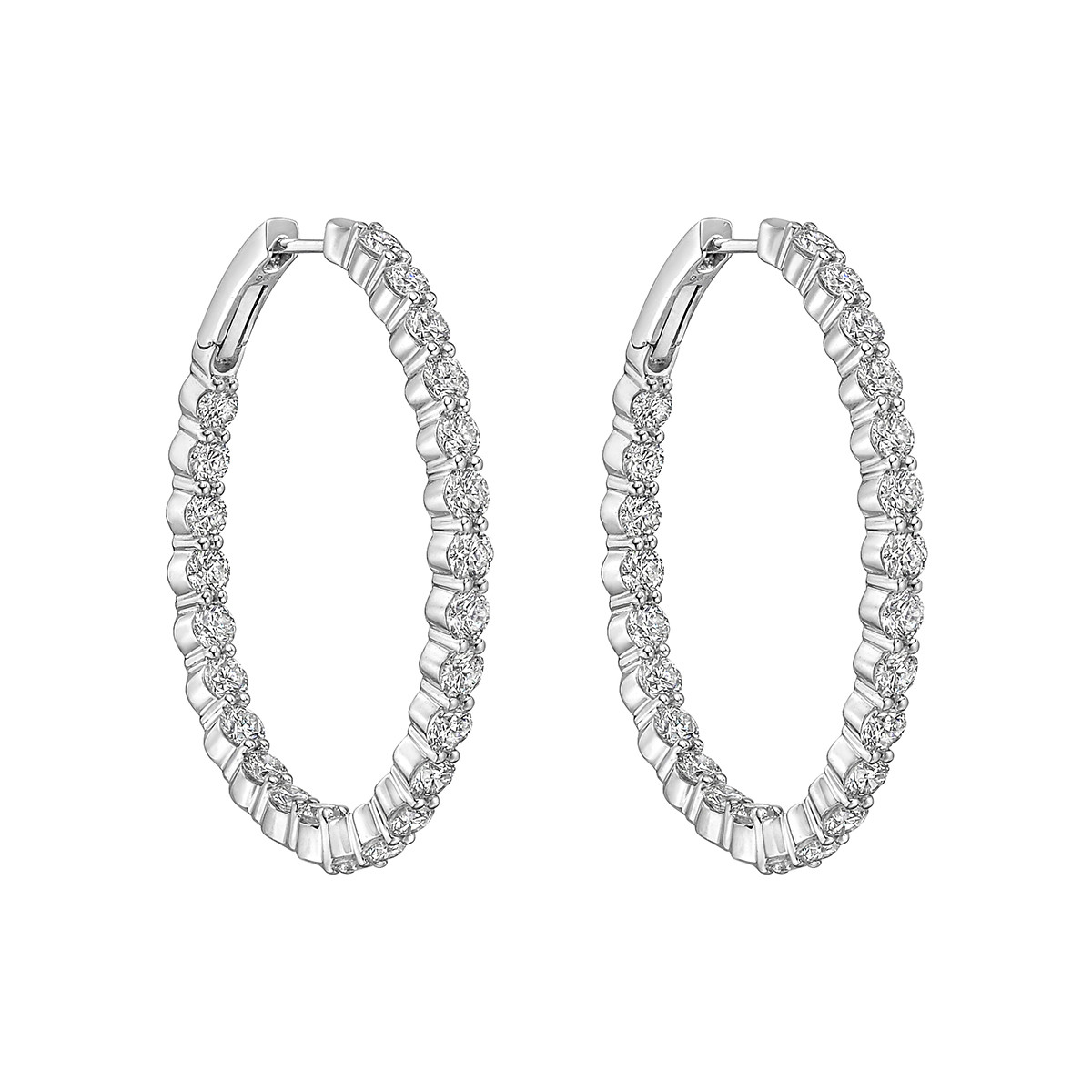 Large Diamond Hoop Earrings (~6 ct tw)