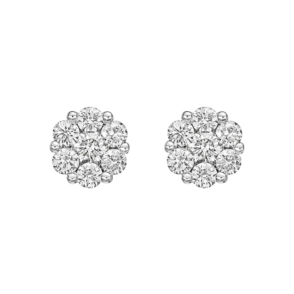 Small Diamond Cluster Earstuds (~1 ct tw)
