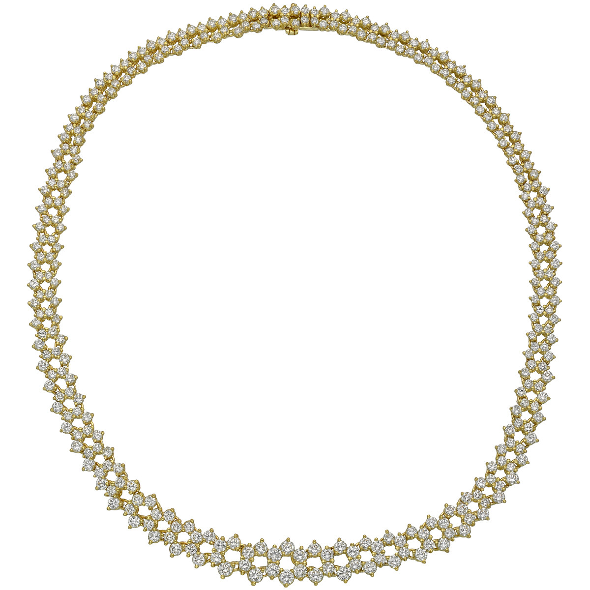 Graduated Round-Cut Diamond Link Necklace (~8.28 ct tw)