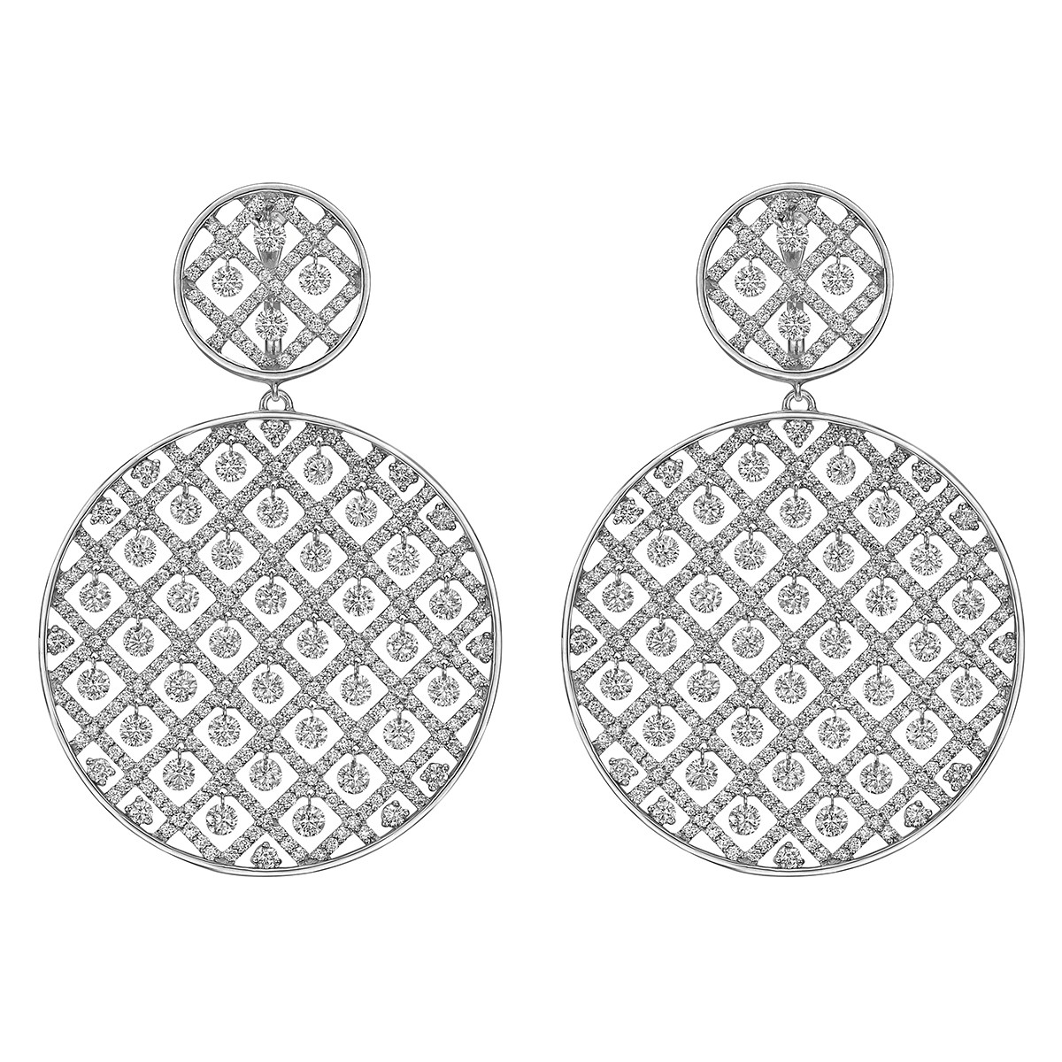 Large Diamond Circular Criss-Cross Drop Earrings