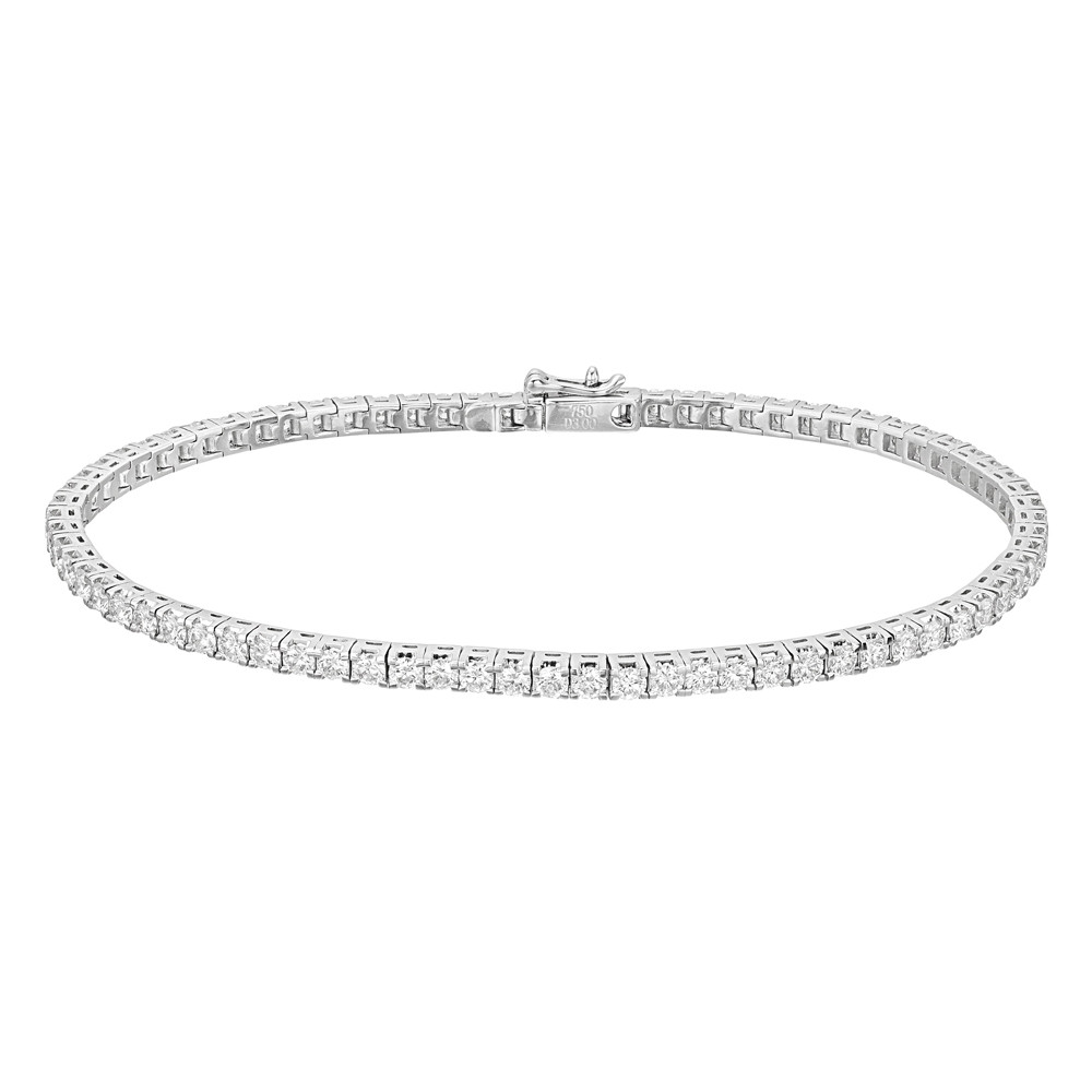 Round Brilliant Diamond Line Bracelet (~3 ct tw)