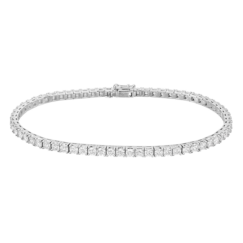 Round Brilliant Diamond Line Bracelet (~4 ct tw)