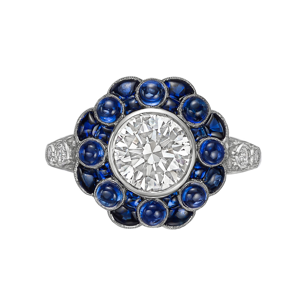 1.51ct Round Diamond & Sapphire Flower Ring