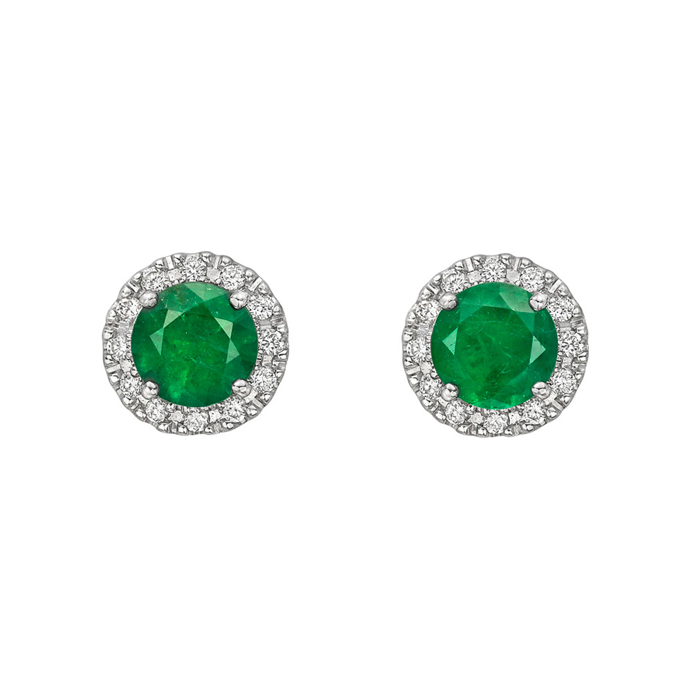 ​Emerald & Diamond Cluster Earstuds