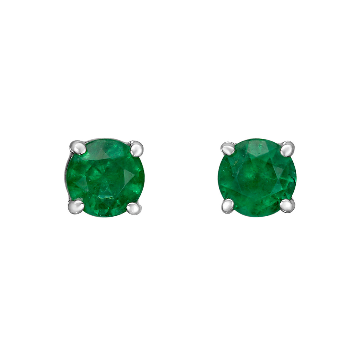 Round Emerald Stud Earrings (0.52ct tw)