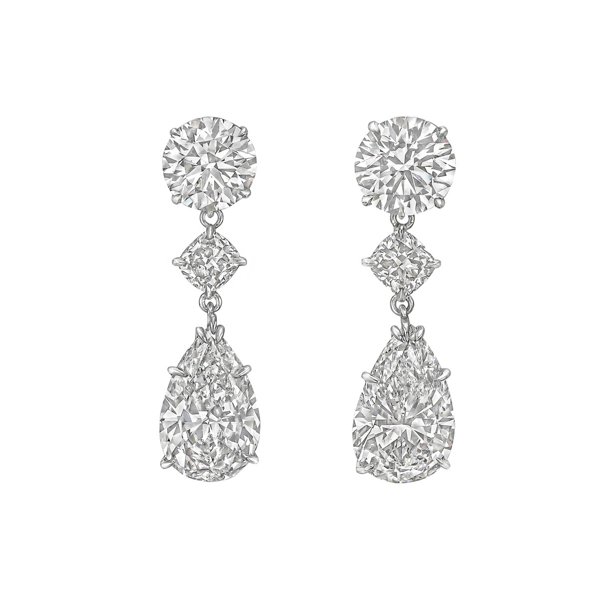 Pear, Round & Cushion Diamond Pendant Earrings