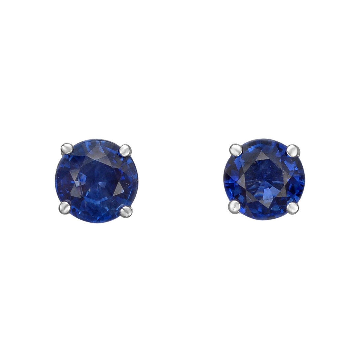Round Sapphire Stud Earrings (1.00 ct tw)