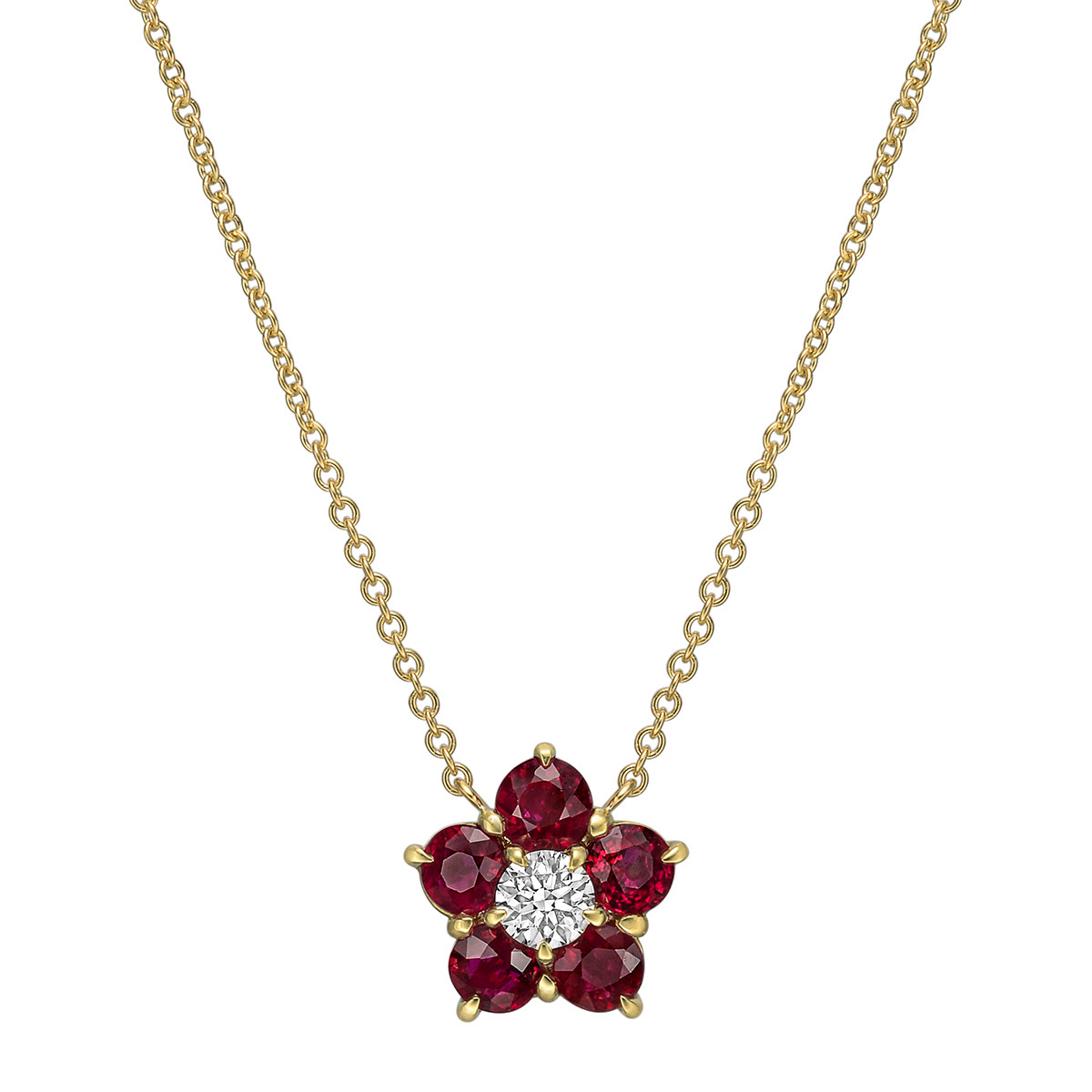 "Ruby & Diamond ""Astra"" Cluster Pendant"