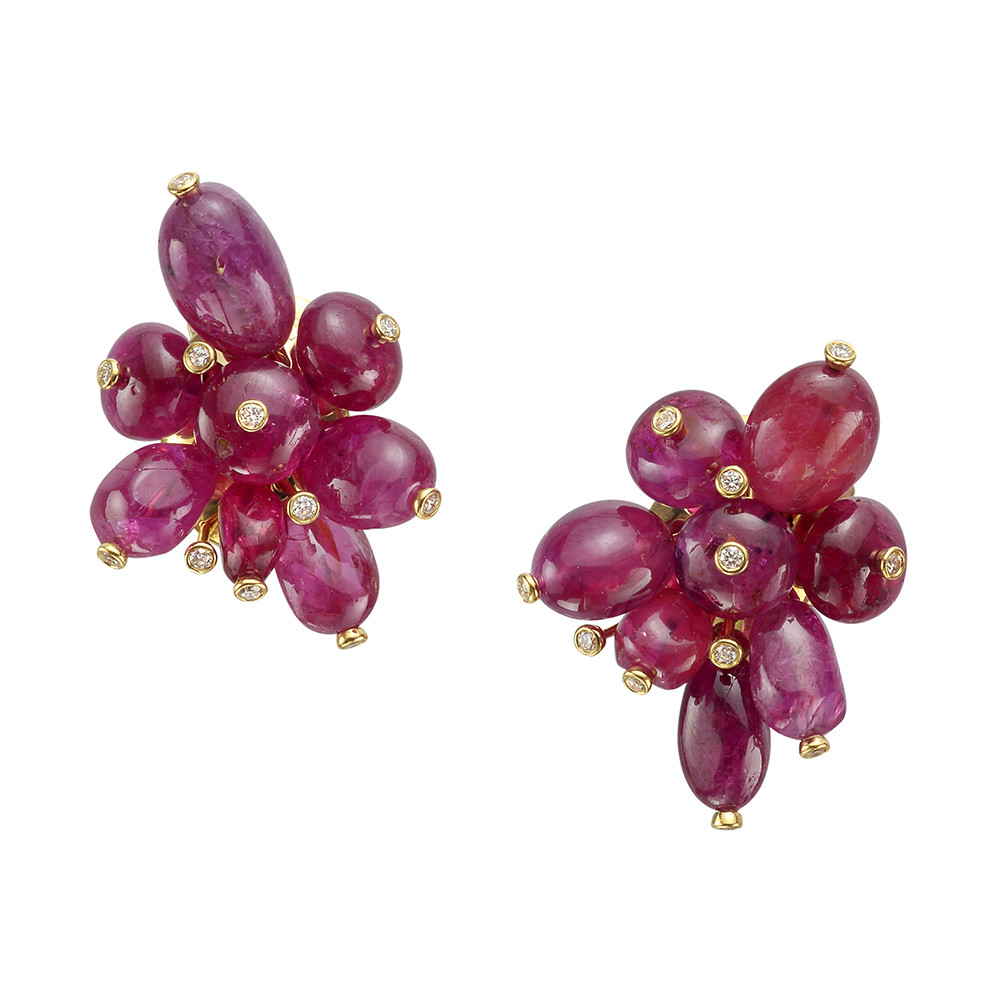 Burmese Ruby Bead & Diamond Cluster Earrings