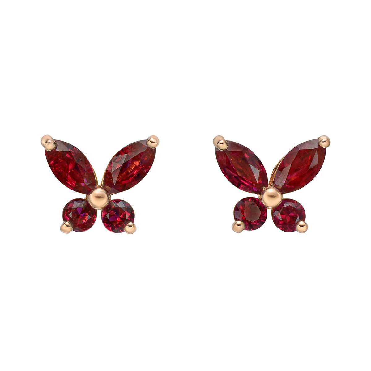 Small Ruby Butterfly Stud Earrings