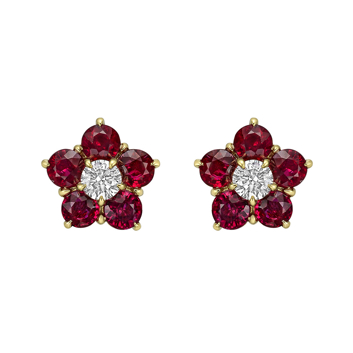 "Ruby & Diamond ""Astra"" Cluster Earrings"