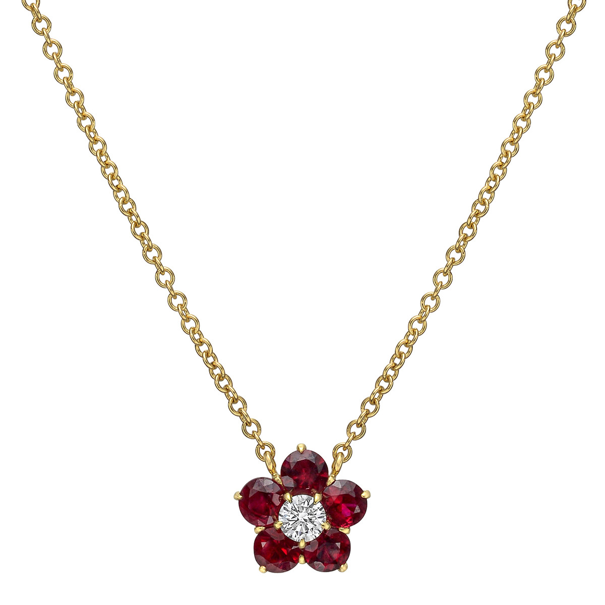 "Small Ruby & Diamond ""Astra"" Cluster Pendant"