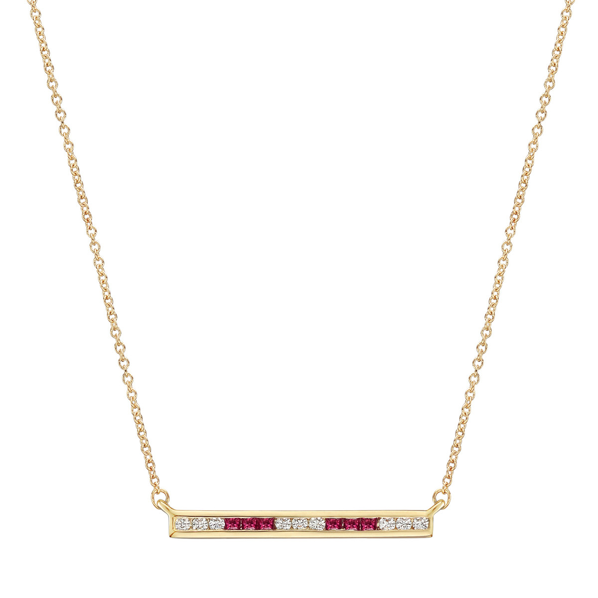 Ruby & Diamond Horizontal Bar Pendant