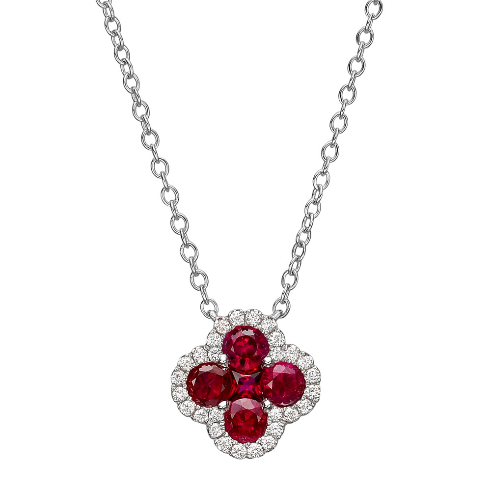 Small Ruby & Diamond Clover Pendant