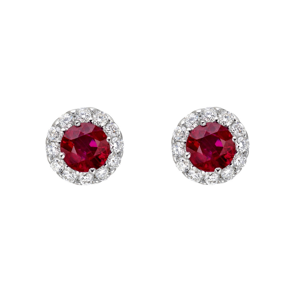 Ruby & Diamond Halo Earstuds