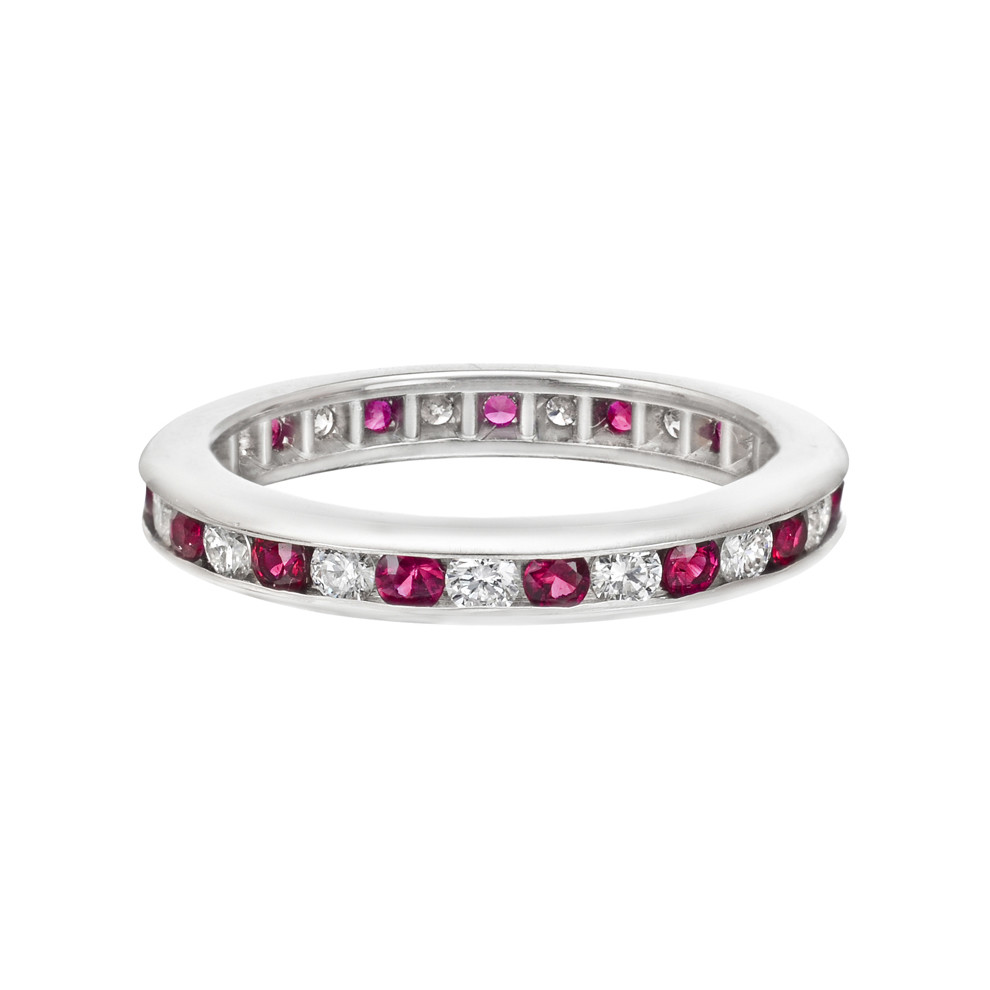 Channel-Set Ruby & Diamond Eternity Band