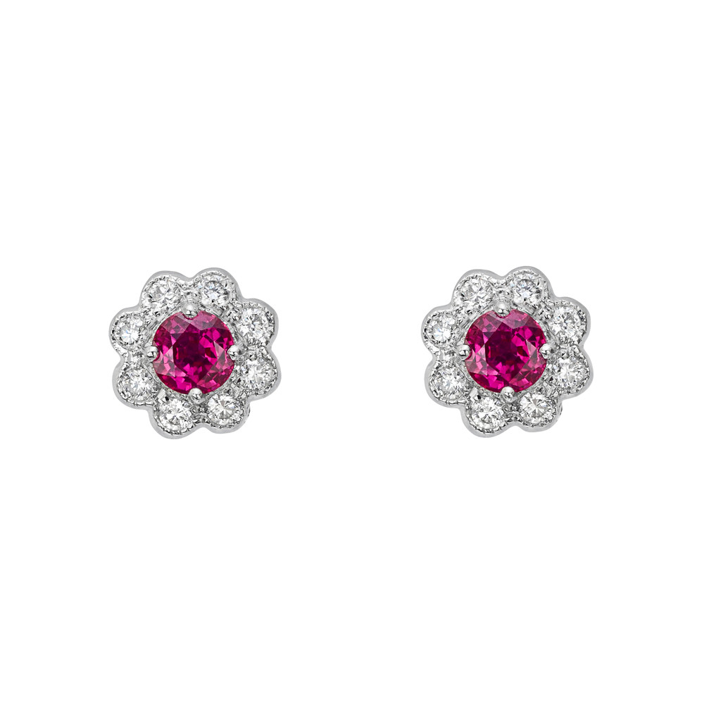 Ruby Diamond Flower Cer Stud Earrings
