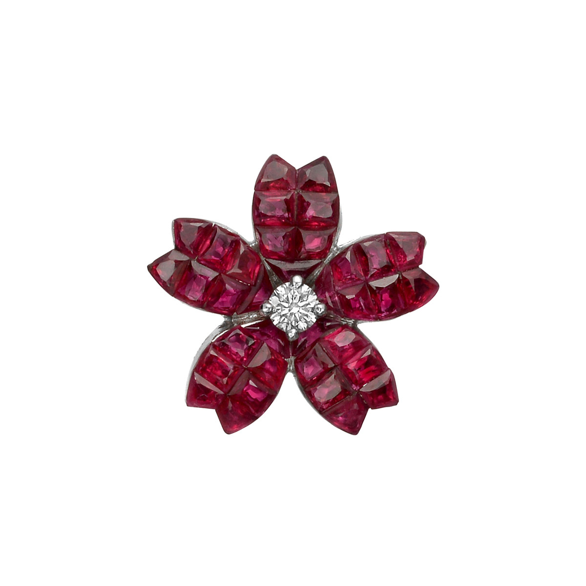 Invisibly-Set Ruby & Diamond Sakura Flower Pendant