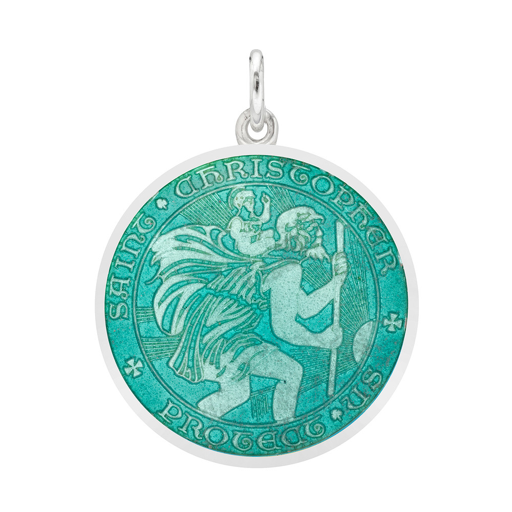 Medium Silver St. Christopher Medal with Aqua Enamel