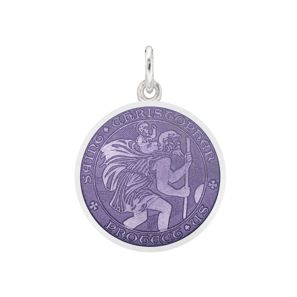 Small Silver St Christopher Medal With Purple Enamel