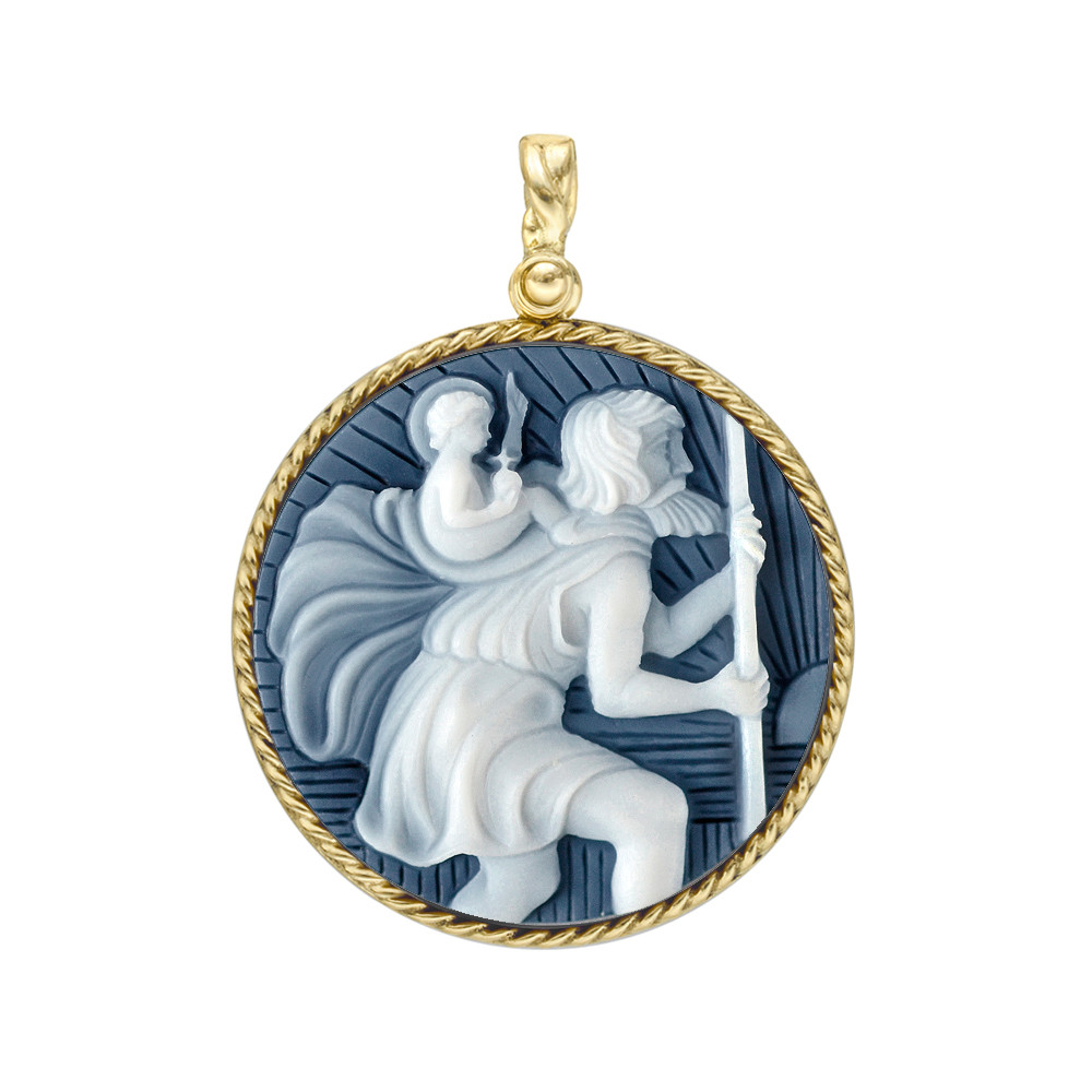 18k Gold St. Christopher Cameo Pendant in Black Agate