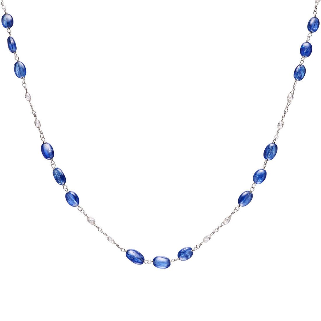 Sapphire Bead & Diamond Briolette Chain Necklace