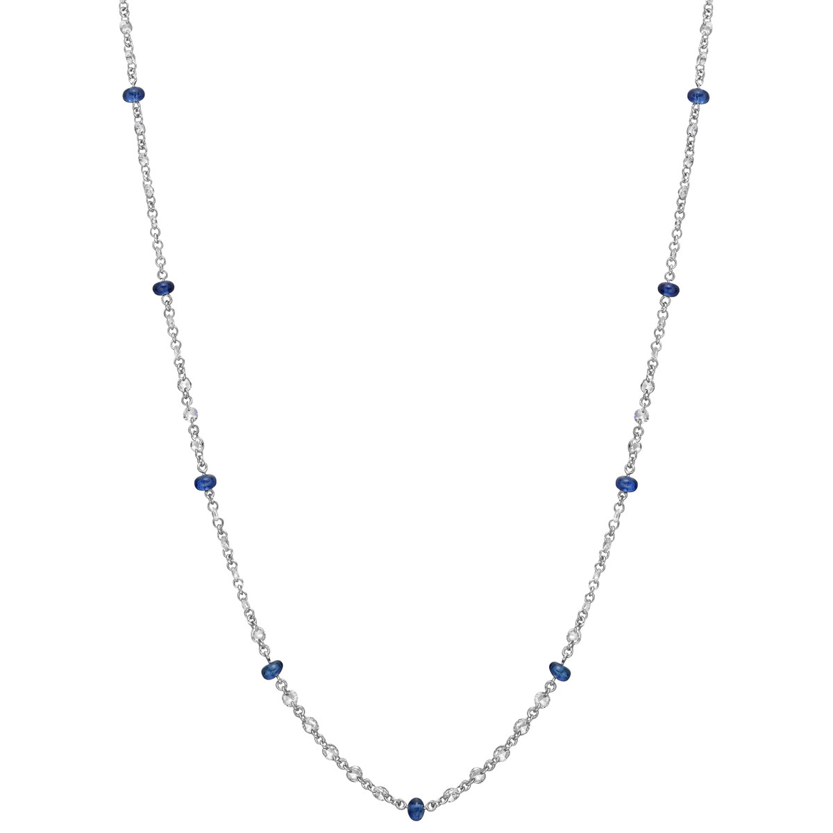 Sapphire Bead & Diamond Chain Necklace