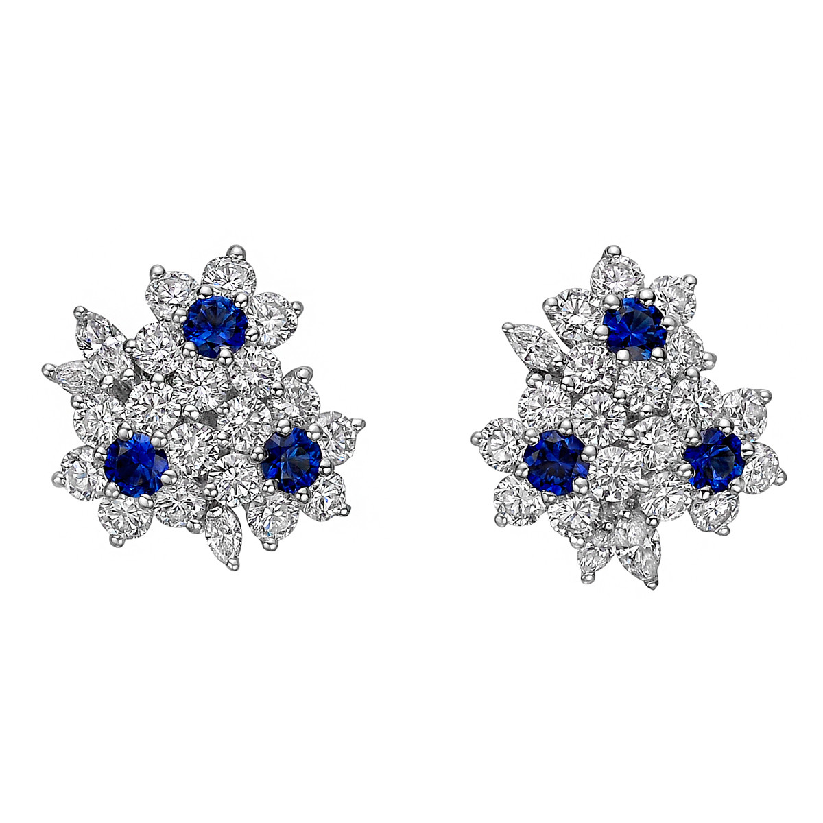 Sapphire & Diamond 3-Flower Cluster Earrings