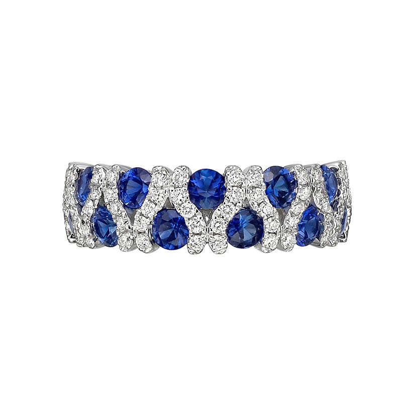 Sapphire & Diamond Alternating 2-Row Band