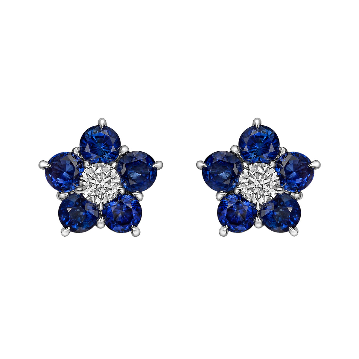 "Sapphire & Diamond ""Astra"" Cluster Earrings"
