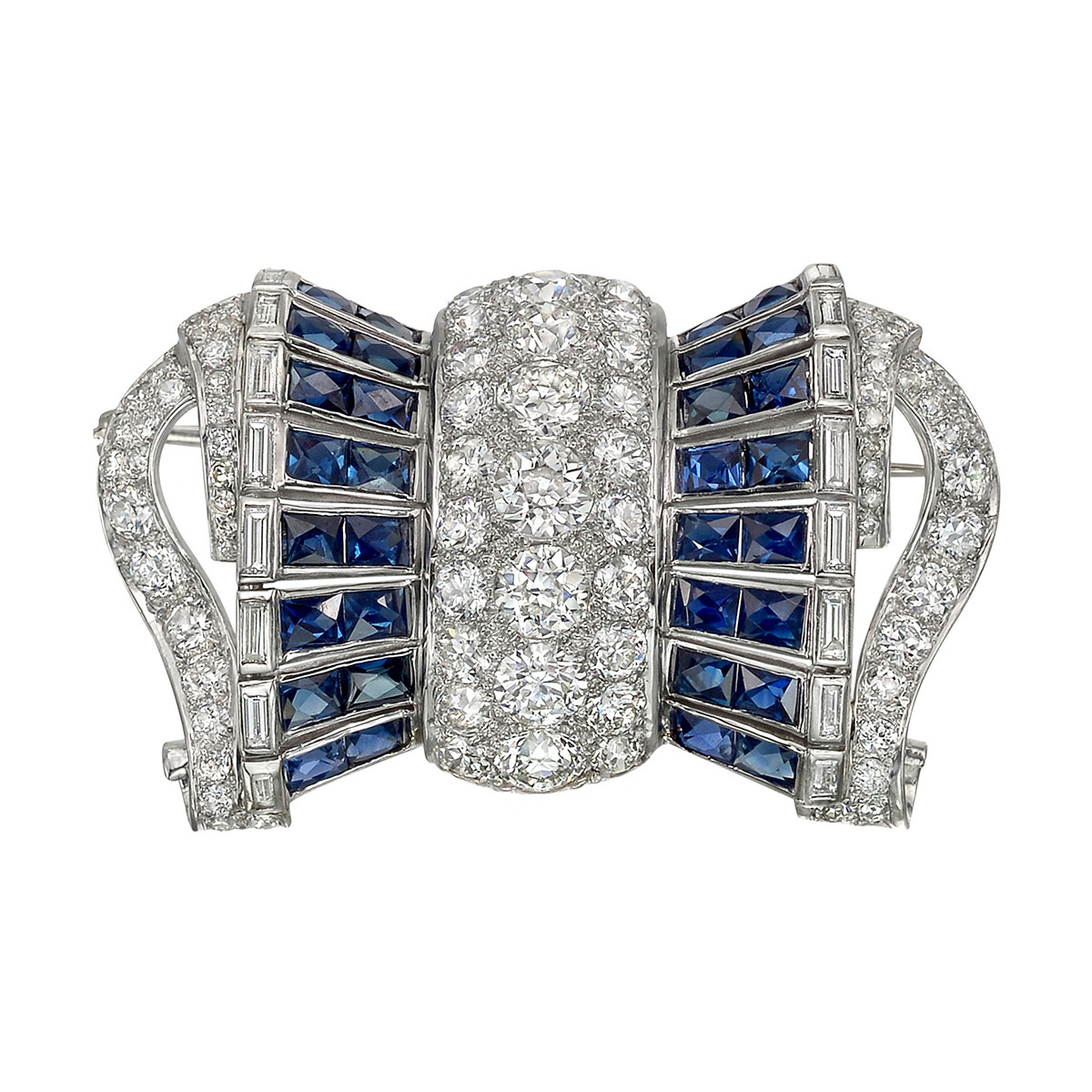 Diamond & Sapphire Barrel-Shaped Bow Pin