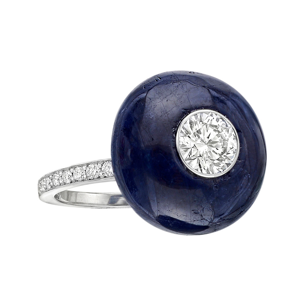 Sapphire & Diamond Button Ring