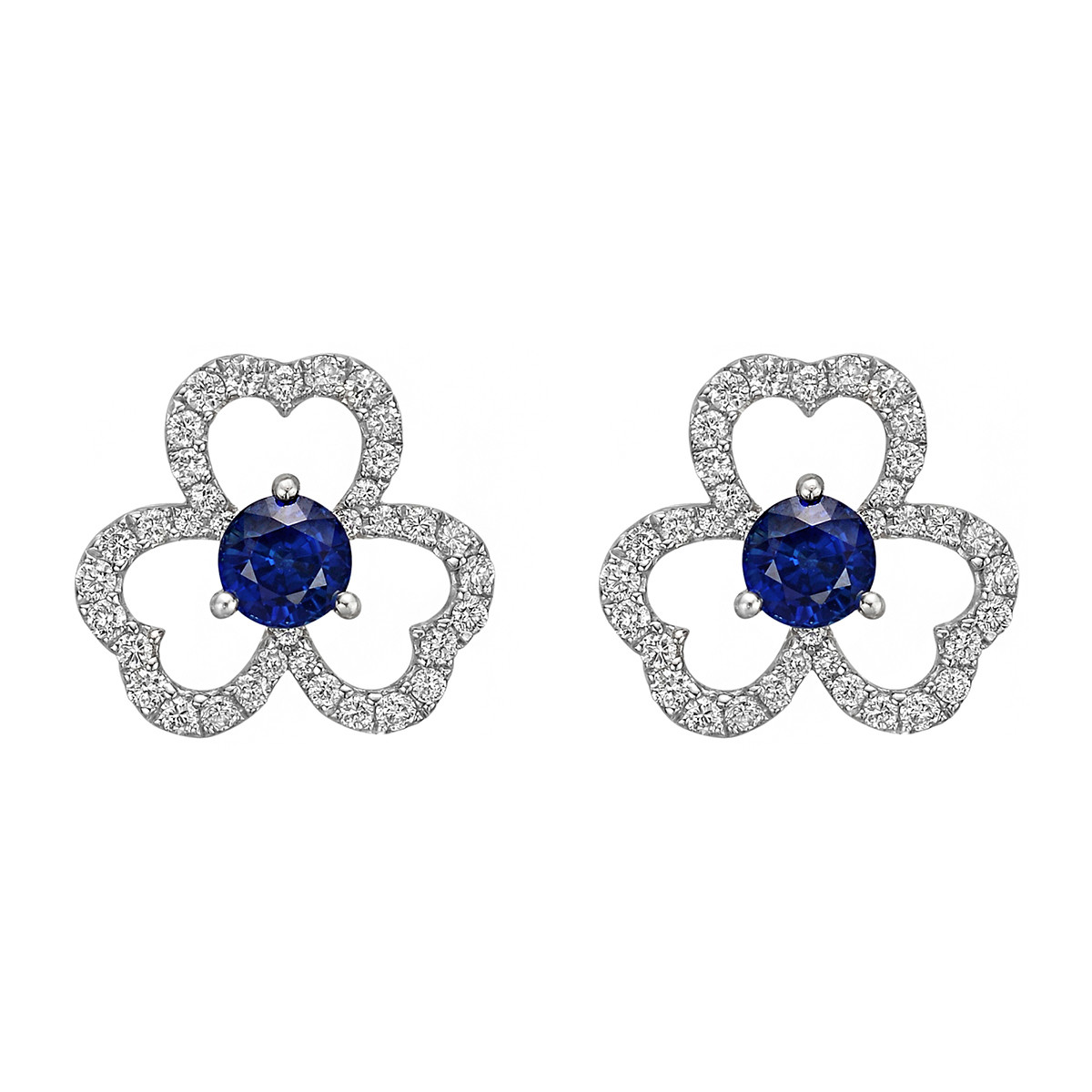 Sapphire & Diamond Flower Stud Earrings
