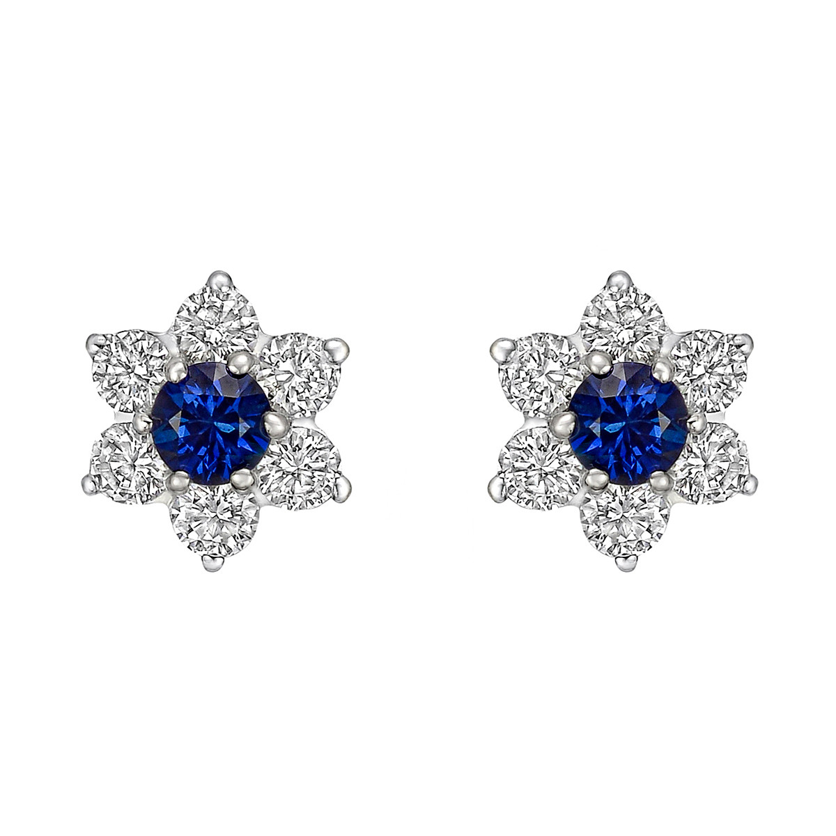 Sapphire & Diamond Flower Cluster Stud Earrings