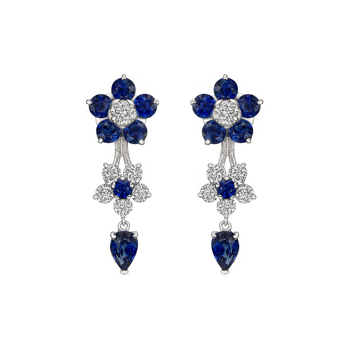 Sapphire & Diamond Flower Drop Earrings