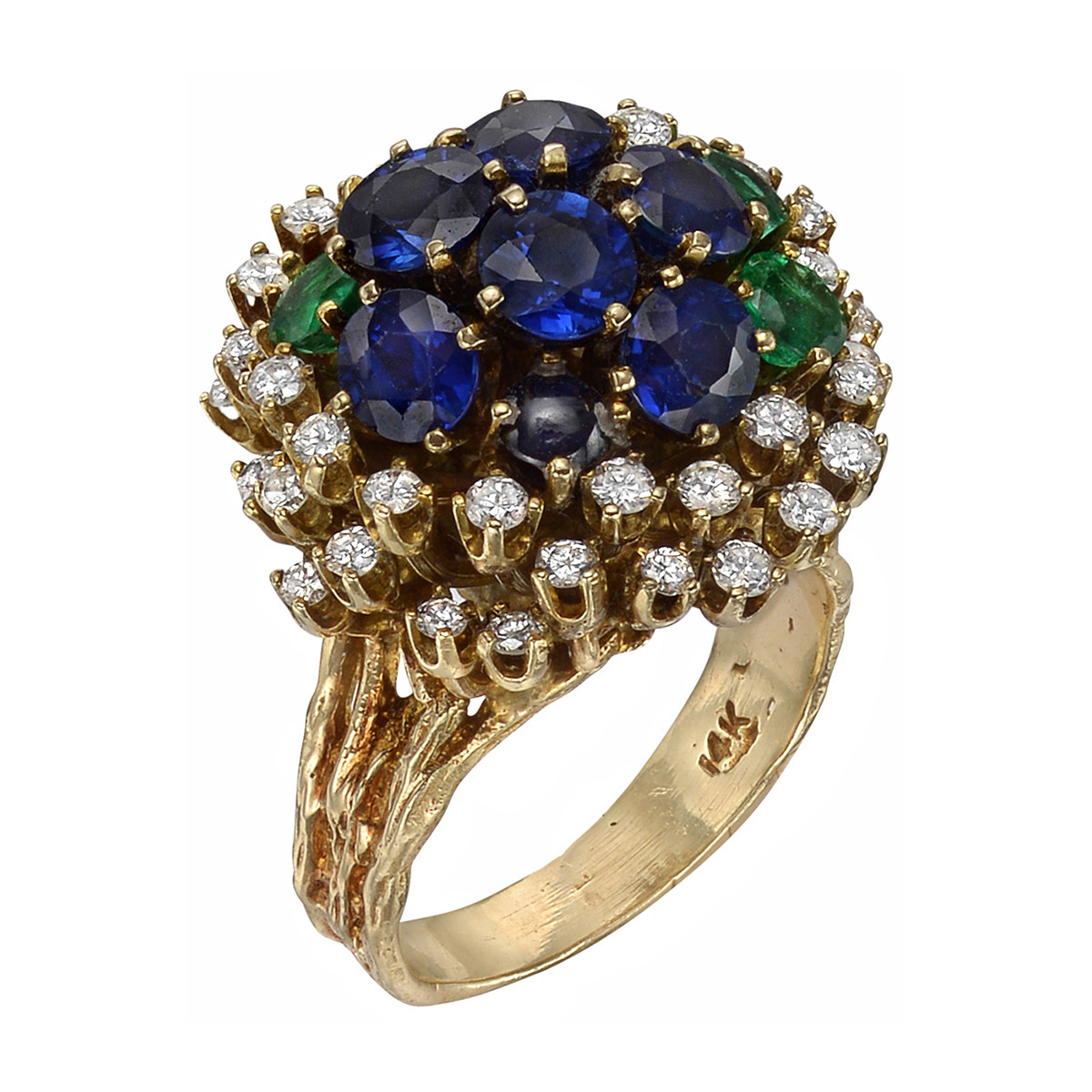 Sapphire, Emerald & Diamond Cocktail Ring