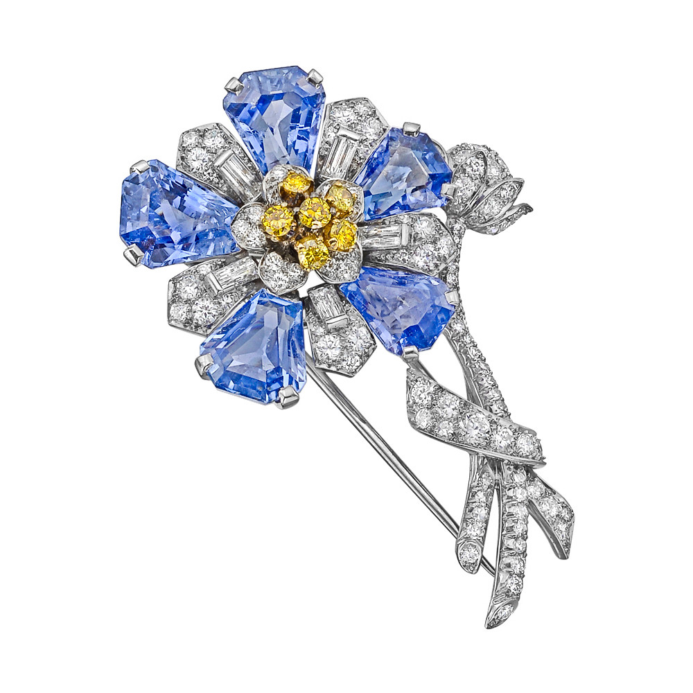 Sapphire & Multicolored Diamond Flower Brooch