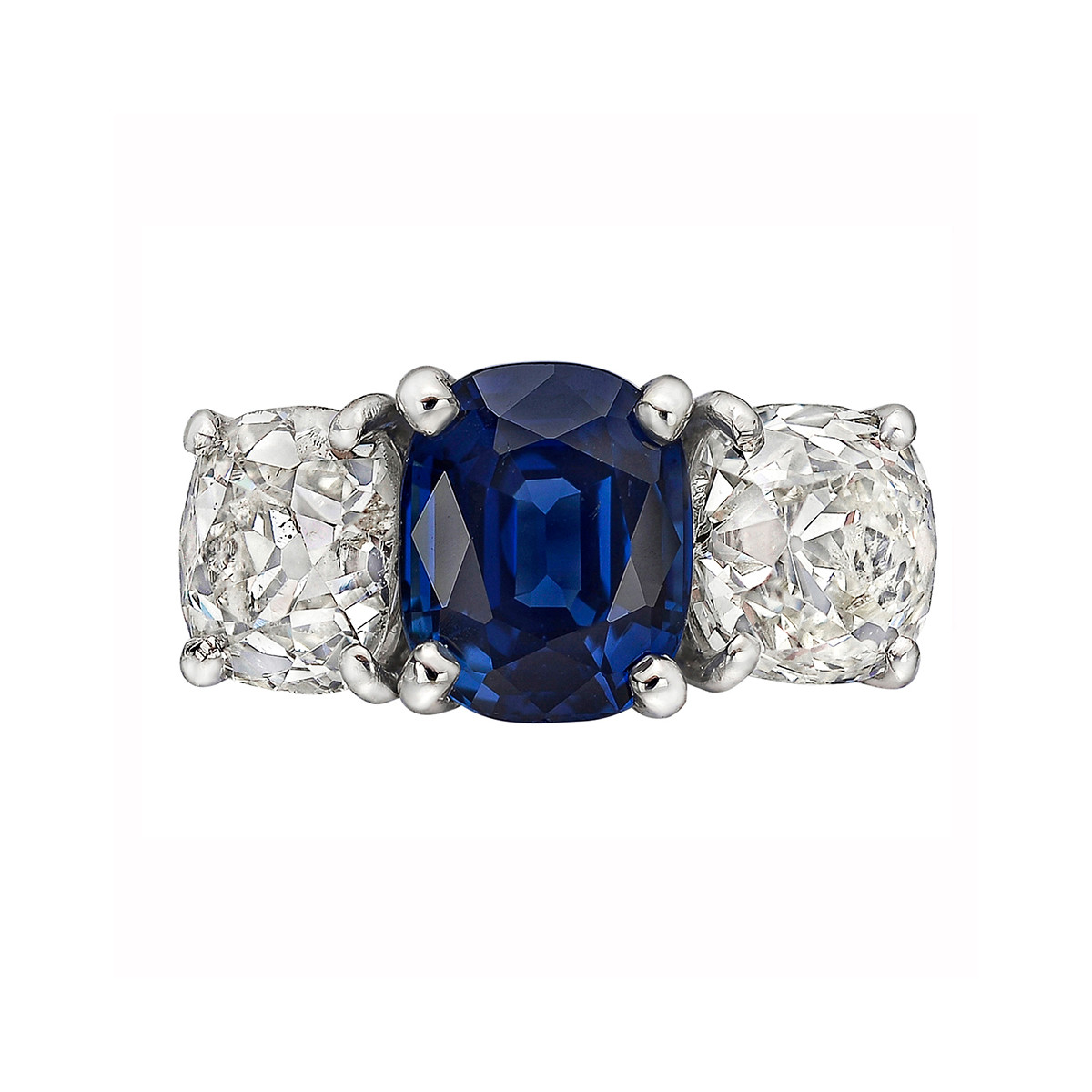3.40ct Sapphire & Diamond Three-Stone Ring