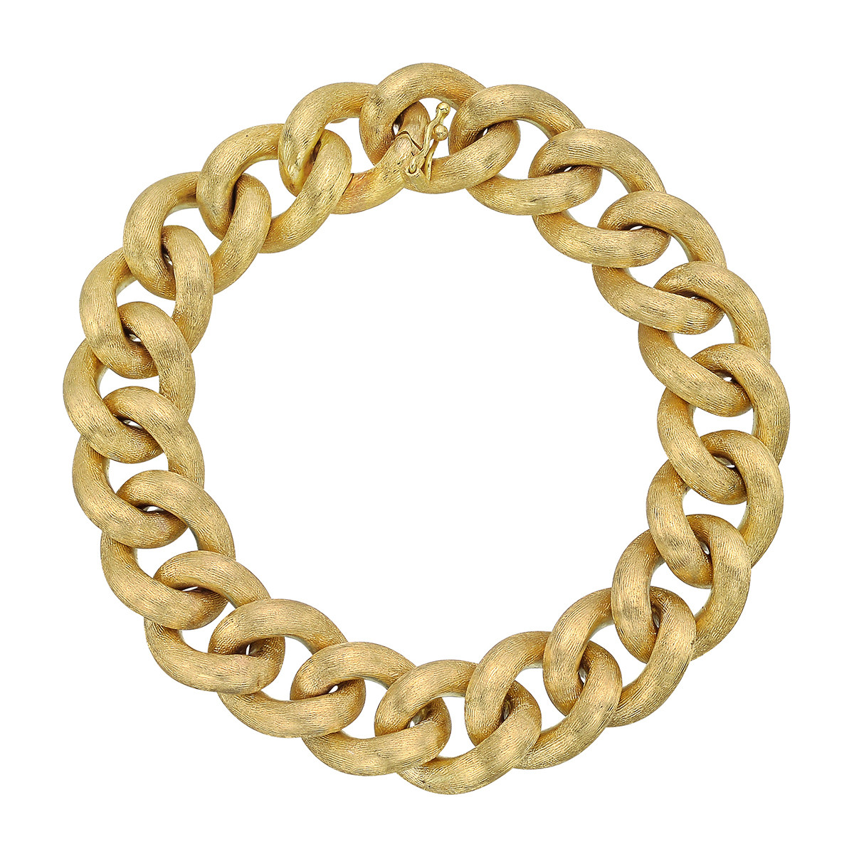 Satin 18k Yellow Gold Curb-Link Bracelet